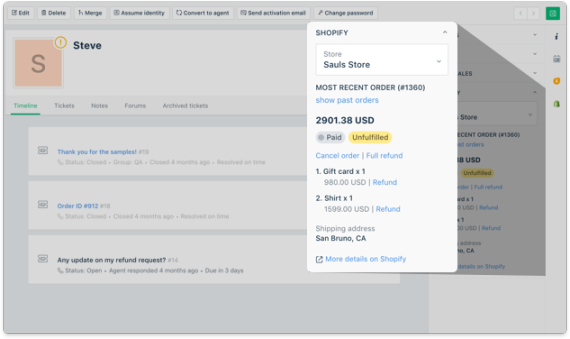 The Freshdesk and Shopify integration helps you provide
